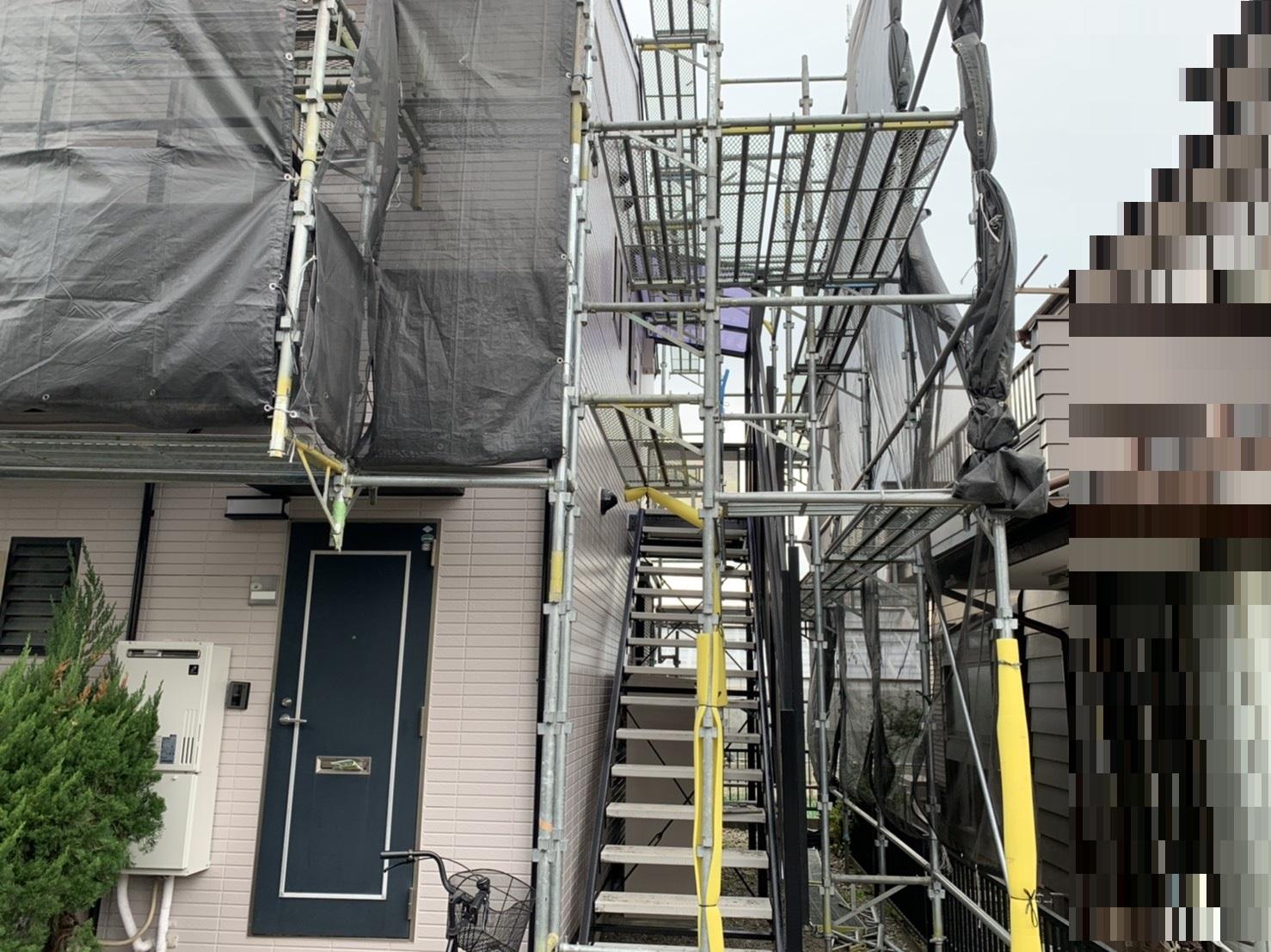 草加市|4世帯アパート外壁・屋根塗装・タイル工事